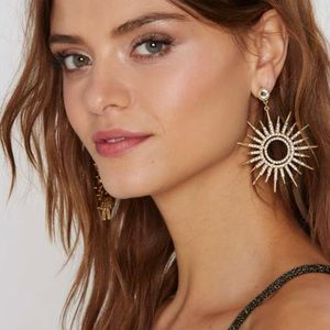 NASTY GAL large STARBURST rhinestone GOLD EARRINGS